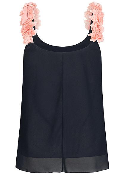Styleboom Fashion Damen 2-Layer Flower Strap Chiffon Top navy blau