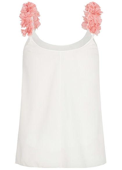 Styleboom Fashion Damen 2-Layer Flower Strap Chiffon Top weiss