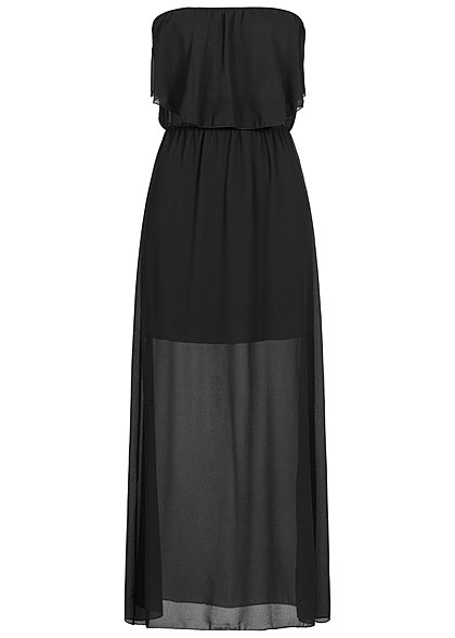 Styleboom Fashion Damen Maxi Bandeau Chiffon Dress schwarz