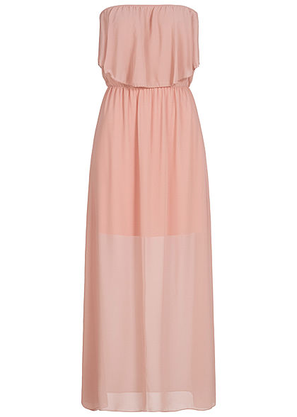 Styleboom Fashion Damen Maxi Bandeau Chiffon Dress rosa