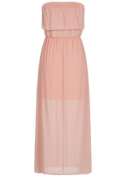 Styleboom Fashion Damen Maxi Bandeau Chiffon Dress rosa