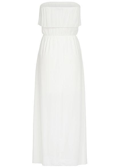 Styleboom Fashion Damen Maxi Bandeau Chiffon Dress weiss