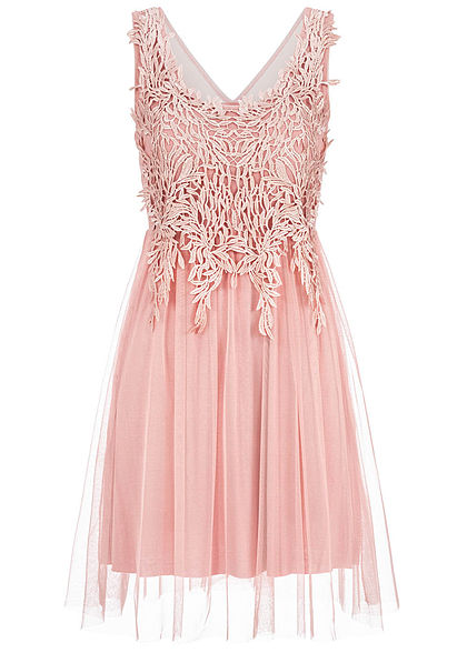 Styleboom Fashion Damen 2-Layer Embroidered Mesh Dress old rosa