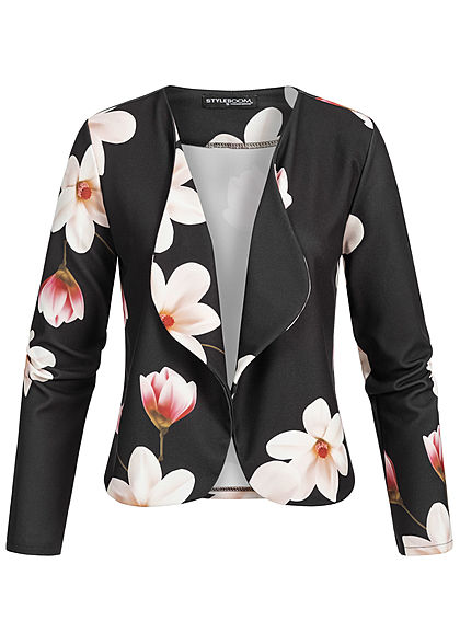 Styleboom Fashion Damen Short Blazer Flower Print schwarz