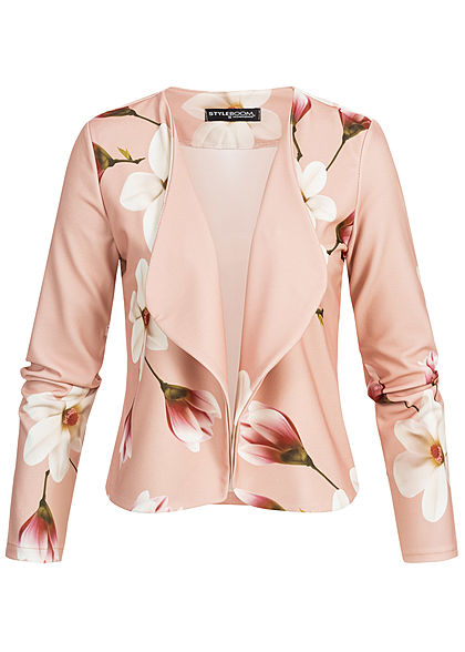 Styleboom Fashion Damen Short Blazer Flower Print rosa