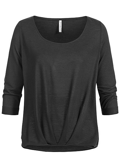Seventyseven Lifestyle Damen 3/4 Sleeve Twist Front Sweater schwarz
