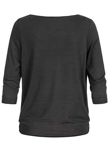 Seventyseven Lifestyle Damen 3/4 Sleeve Twist Front Sweater schwarz