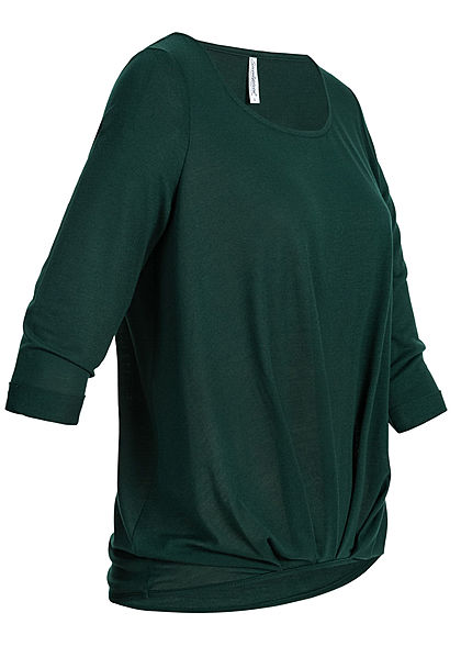 Seventyseven Lifestyle Damen 3/4 Sleeve Twist Front Sweater dunkel grün