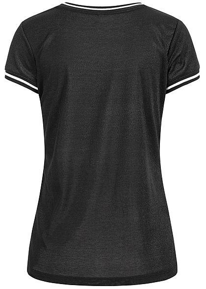 Seventyseven Lifestyle Damen 2-Tone Lurex T-Shirt schwarz