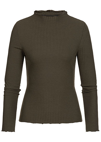 ONLY Damen NOOS Ribbed Frill Longsleeve forest night grün