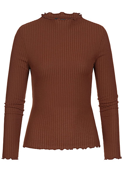 ONLY Damen High Neck Rib Sweater cherry mahogany braun