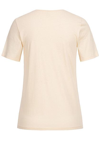 ONLY Damen T-Shirt Social Sunday Print creme brulee beige