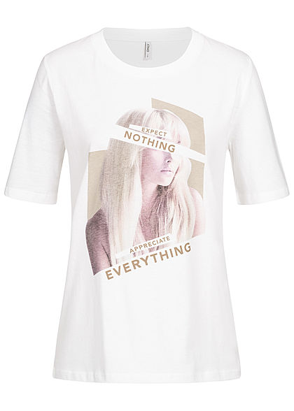 ONLY Damen T-Shirt Expect Nothing Print bright weiss