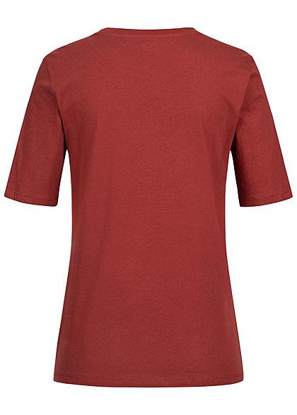 ONLY Damen T-Shirt Mindset Print merlot bordeaux rot