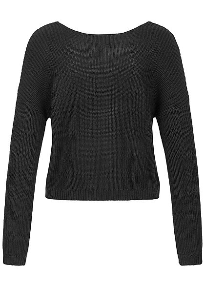 ONLY Damen Oversized Knit Pullover Lace Detail schwarz