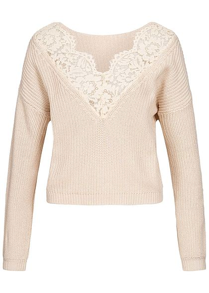 ONLY Damen Oversized Knit Pullover Lace Detail pumice stone beige
