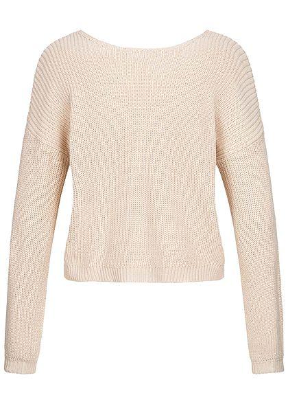 ONLY Damen NOOS Pullover V-Ausschnitt mit Spitze hinten Ballonärmel pumice stone beige