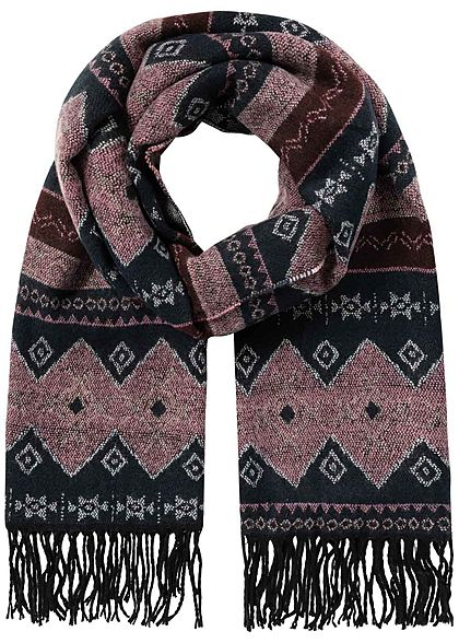 Vero Moda Damen Long Scarf Ethnic Print night sky navy blau rosa