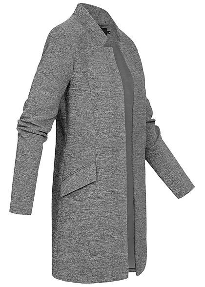 ONLY Damen Coatigan Blazer 2-Pockets medium grau melange