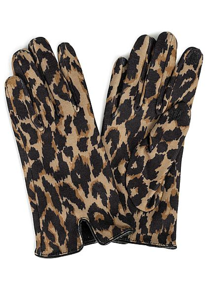 ONLY Damen Gloves Leo Print bone braun schwarz