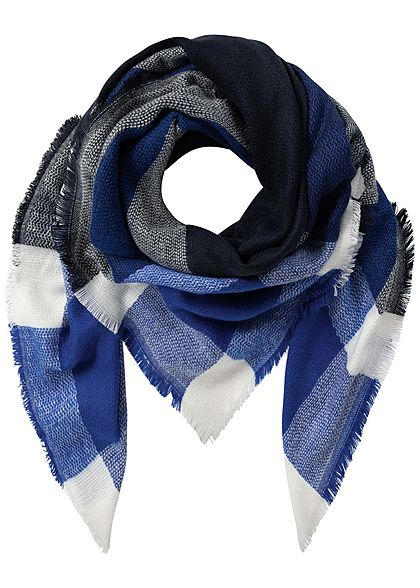 ONLY Damen Weaved Square Scarf night sky navy blau weiss