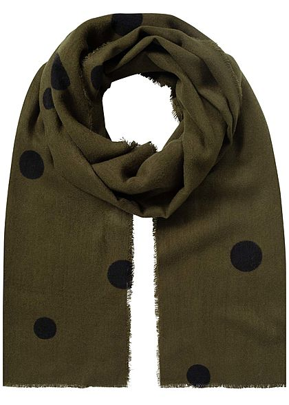 ONLY Damen Weaved Dot Scarf beech grün schwarz