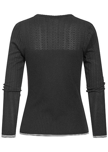 ONLY Damen Knit Pullover schwarz antique weiss
