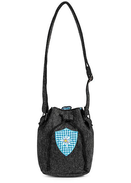 Hailys Damen Oktoberfest Filz-Handtasche mit Frontpatch dunkel grau blau