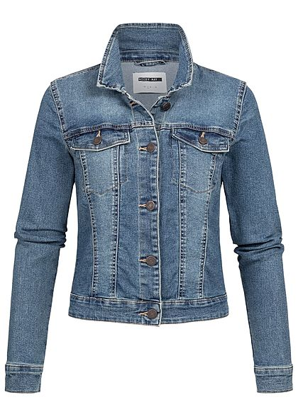 Noisy May Damen NOOS Jeans Jacke 2 Brusttaschen medium blau denim