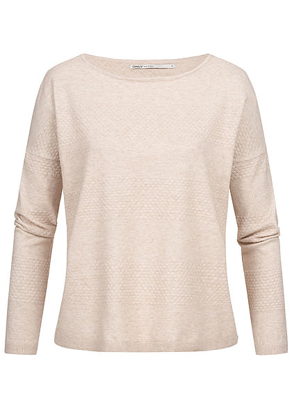 ONLY Damen Oversized Structure Sweater NOOS pumice stone beige