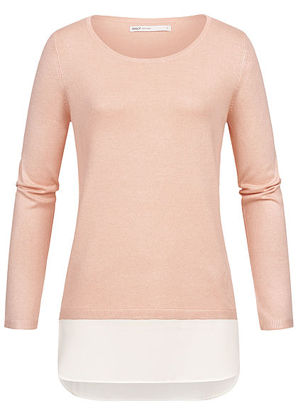 cheaper 78ead 9bbf4 ONLY Damen Pullover 2in1 Look cameo rosa weiss
