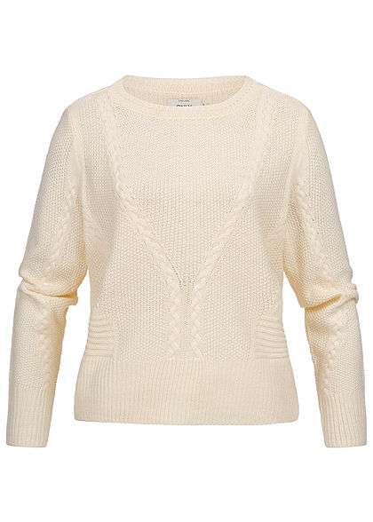 ONLY Damen Cable Knit Pullover cloud dancer weiss