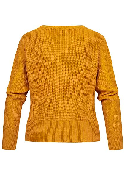 ONLY Damen Cable Knit Pullover golden gelb