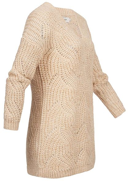 ONLY Damen Oversized V-Neck Knit Pullover pum. stone beige