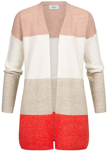 ONLY Damen Colorblock Wide Knit Cardigan misty rosa weiss beige rot