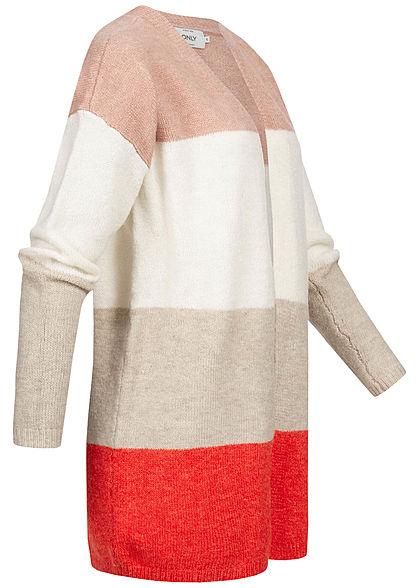 ONLY Damen Colorblock Wide Knit Cardigan misty rosa weiss beige rot