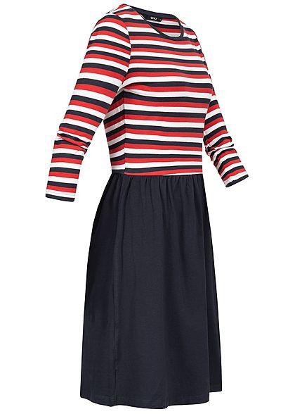 ONLY Damen 3/4 Sleeve Striped Dress night sky navy blau rot weiss