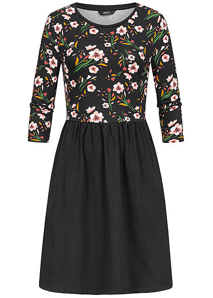 ONLY Damen 3/4 Sleeve Dress Flower Print schwarz rosa weiss