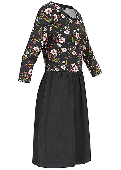 ONLY Damen 3/4 Sleeve Dress Flower Print schwarz rosa weiss
