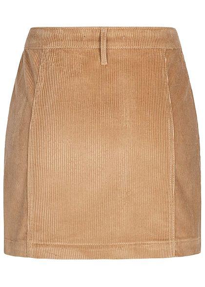 ONLY Damen High-Waist Mini Cord Skirt 2-Pockets tigers eye hell braun