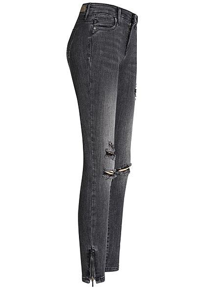 ONLY Damen Ankle Zip Denim Jeans Destroy Look 5-Pockets NOOS dunkel grau denim