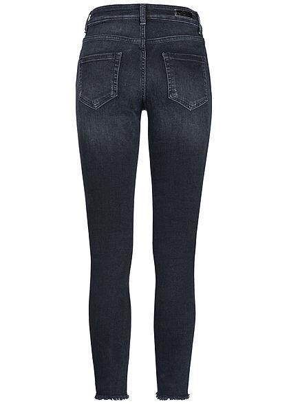 ONLY Damen Ankle Skinny Raw Jeans 5-Pockets Mid Waist NOOS schwarz denim