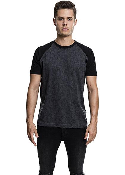 Urban Classics Herren 2-Tone Raglan T-Shirt charcoal grau schwarz