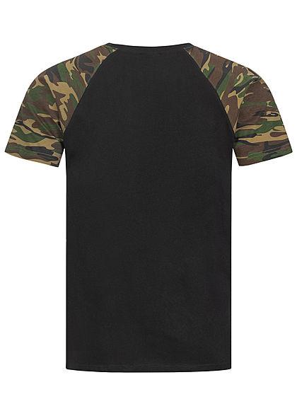 Urban Classics Herren 2-Tone Raglan T-Shirt schwarz wood camo