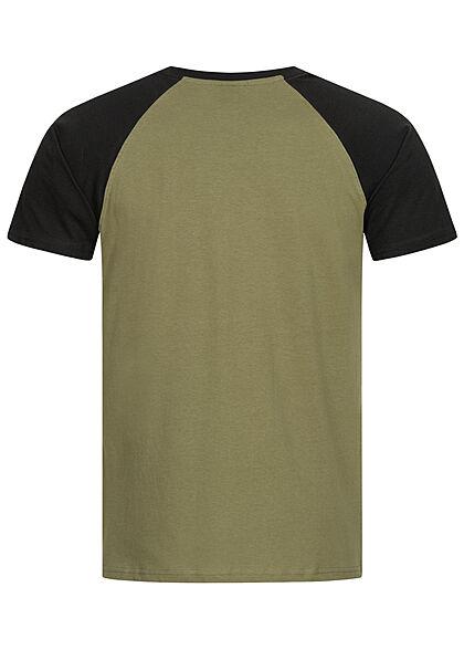 Urban Classics Herren 2-Tone Raglan T-Shirt olive grün schwarz