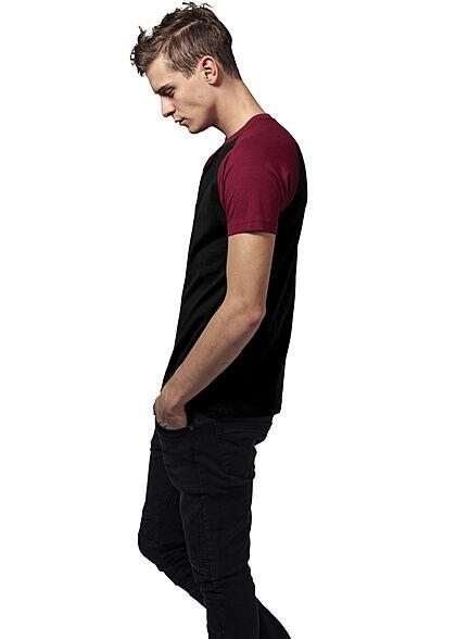Urban Classics Herren 2-Tone Raglan T-Shirt schwarz burgundy