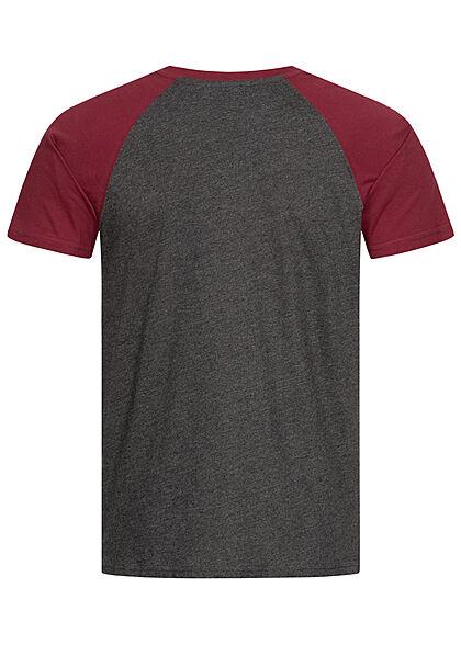Urban Classics Herren 2-Tone Raglan T-Shirt charcoal burgundy
