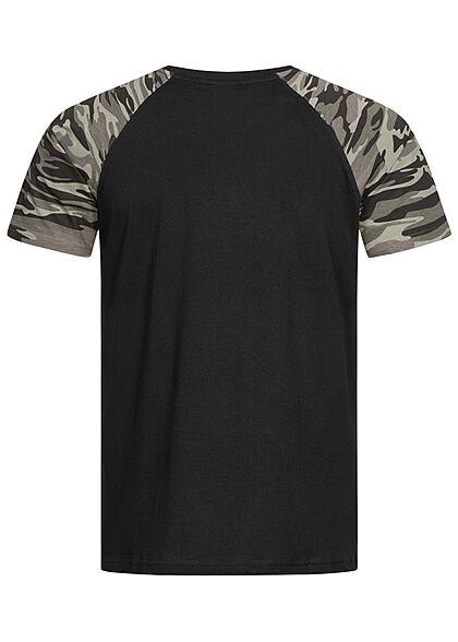 Urban Classics Herren 2-Tone Raglan T-Shirt schwarz dark camo