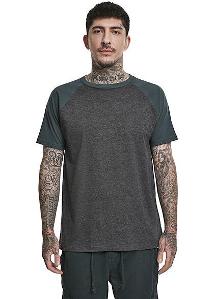 Urban Classics Herren 2-Tone Raglan T-Shirt charcoal grau teal blau