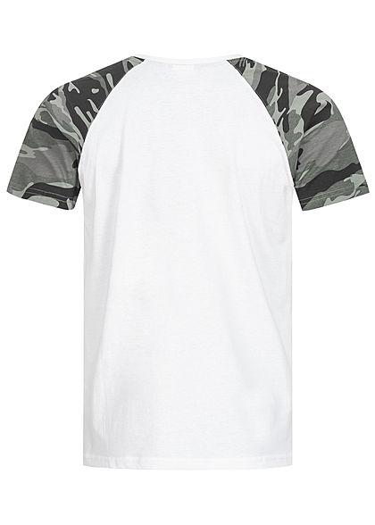 Urban Classics Herren 2-Tone Raglan T-Shirt weiss dark camo